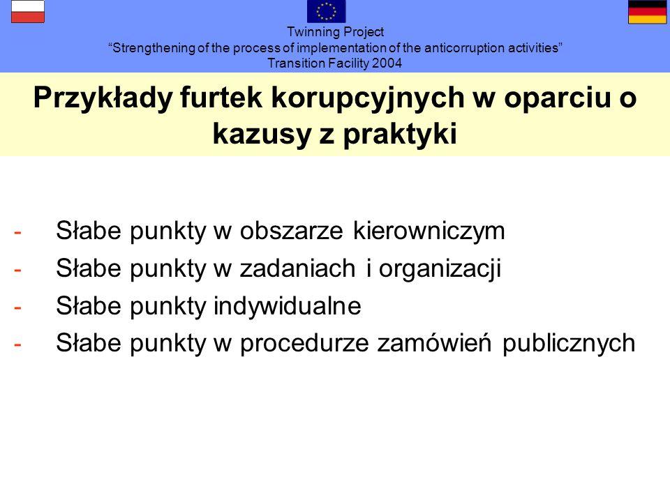 Twinning Project Strengthening of the process of implementation of the anticorruption activities Transition Facility 2004 Przykłady furtek korupcyjnyc