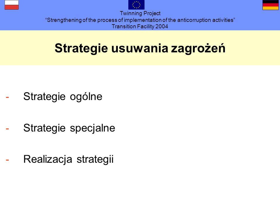 Twinning Project Strengthening of the process of implementation of the anticorruption activities Transition Facility 2004 Strategie ogólne - Ustalenie obszarów roboczych zagrożonych korupcją (analiza ryzyka) - Konsekwentny nadzór służbowy i fachowy -Zasada wielu par oczu i przejrzystość - Zasadnicze rozdzielenie planowania, udzielania zamówień i rozliczenia - Zasada przetargu otwartego - Rotacja personelu - Utworzenie jednostek centralnych / Zobowiązanie pracowników do zgłaszania wszystkich przypadków podejrzenia korupcji (obowiązki powiadomienia) - Audyt wewnętrzny - Selekcja personelu - Wykształcenie i dokształcanie - Uwrażliwienie i pouczenie zatrudnionych - Stworzenie wzorca - Wykluczenie przedsiębiorstw z konkurencji / Klauzule antykorupcyjne - Zobowiązanie wykonawców zgodnie z Prawem zamówień publicznych - Uregulowanie przyjmowania nagród i prezentów