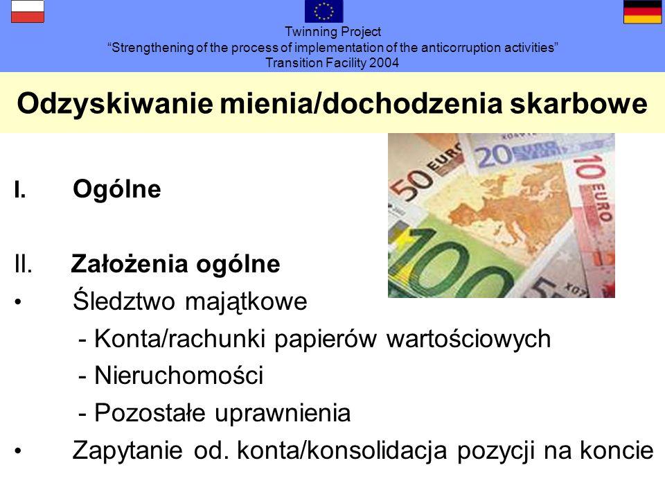 Twinning Project Strengthening of the process of implementation of the anticorruption activities Transition Facility 2004 Odzyskiwanie mienia/dochodzenia skarbowe III.
