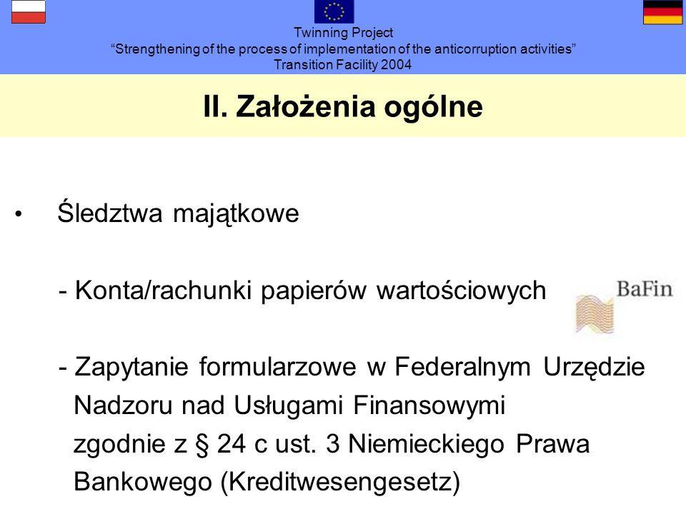 Twinning Project Strengthening of the process of implementation of the anticorruption activities Transition Facility 2004 II. Założenia ogólne Śledztw