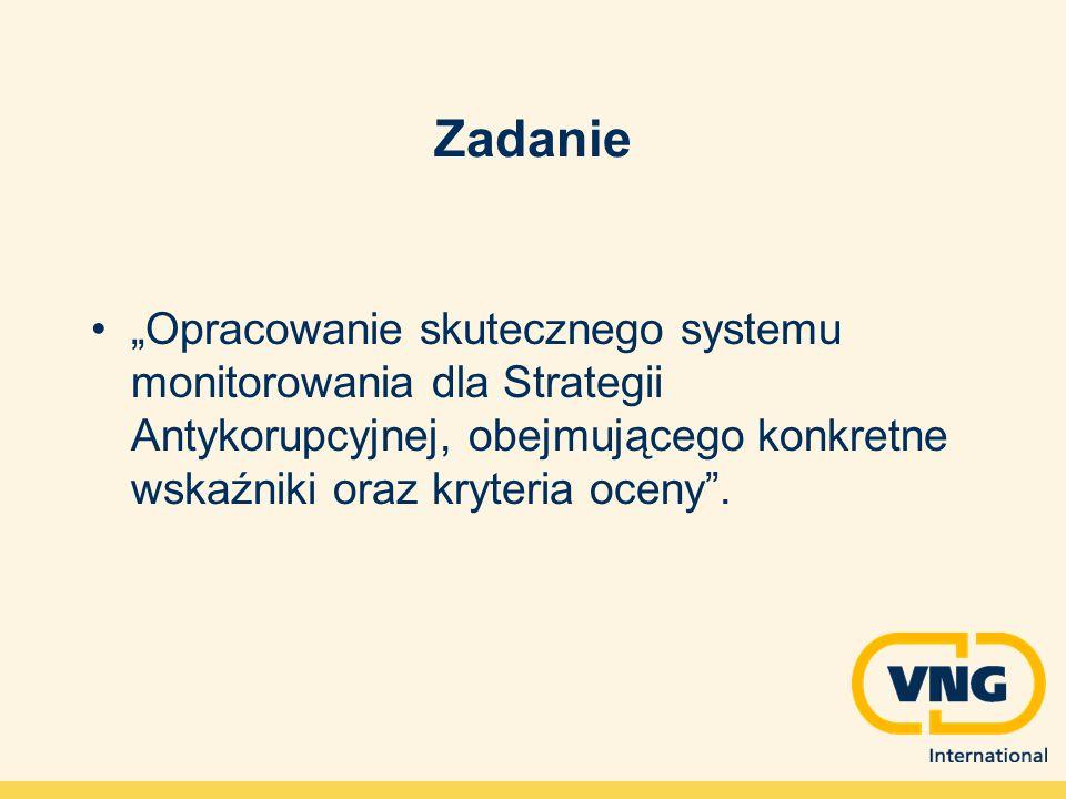 Zadanie Opracowanie skutecznego systemu monitorowania dla Strategii Antykorupcyjnej, obejmującego konkretne wskaźniki oraz kryteria oceny.