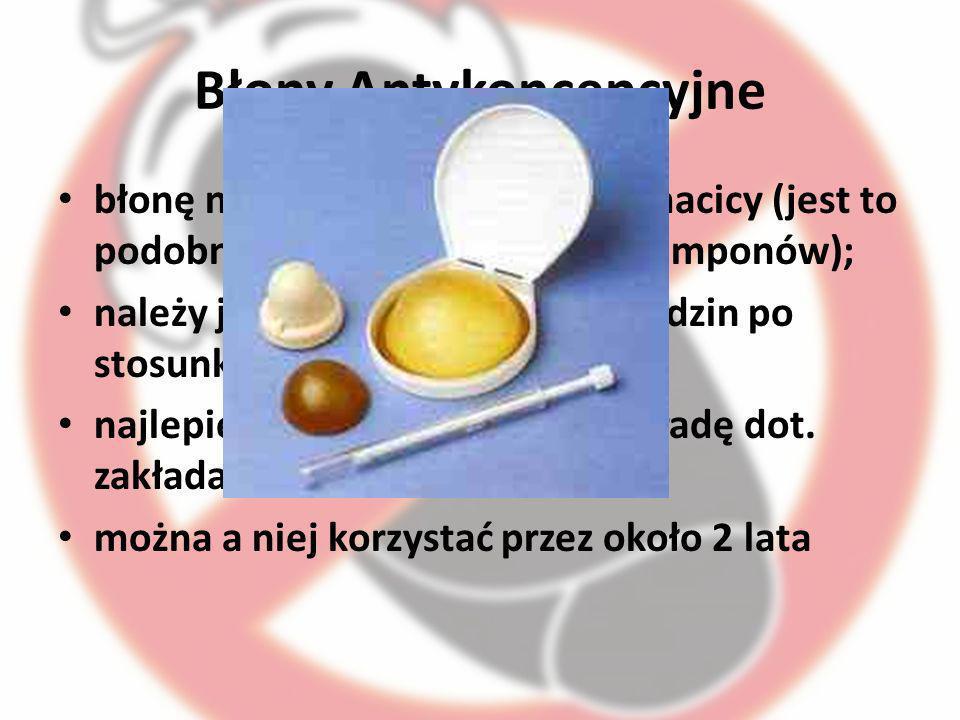 Błony Antykoncepcyjne błonę należy założyć na szyjkę macicy (jest to podobny proces do wkładania tamponów); należy ją usunąć w ciągu 6-24 godzin po st