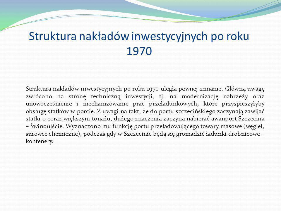 Struktura nakładów inwestycyjnych po roku 1970 Struktura nakładów inwestycyjnych po roku 1970 uległa pewnej zmianie. Główną uwagę zwrócono na stronę t
