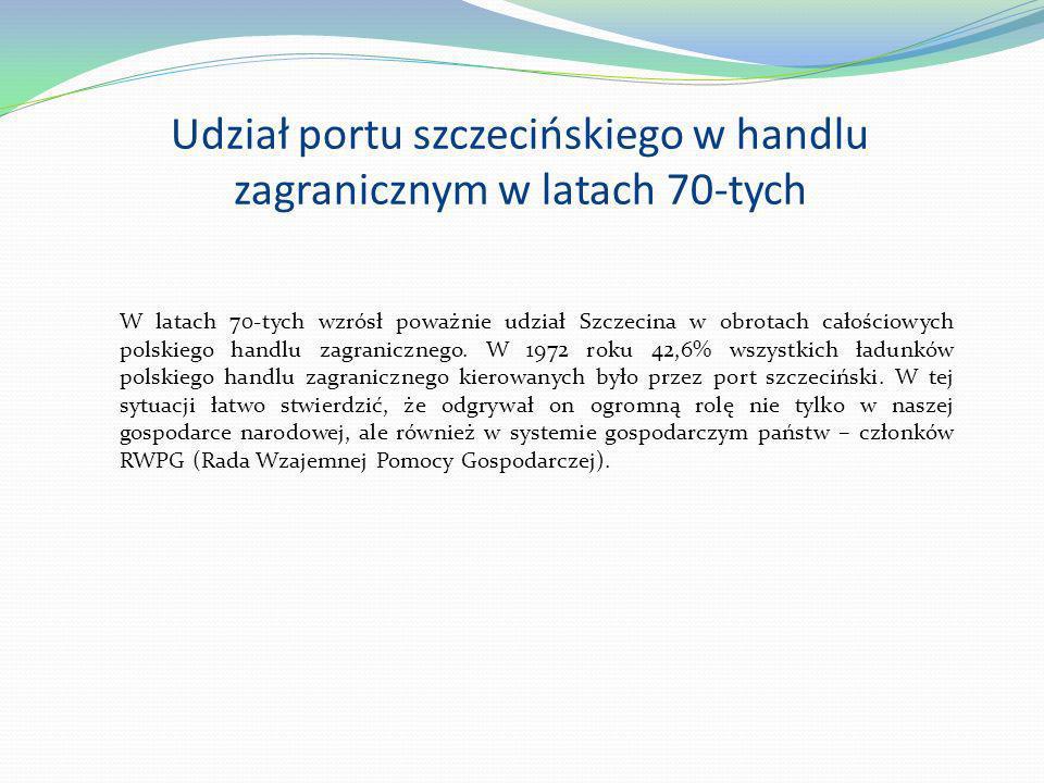 Udział portu szczecińskiego w handlu zagranicznym w latach 70-tych W latach 70-tych wzrósł poważnie udział Szczecina w obrotach całościowych polskiego