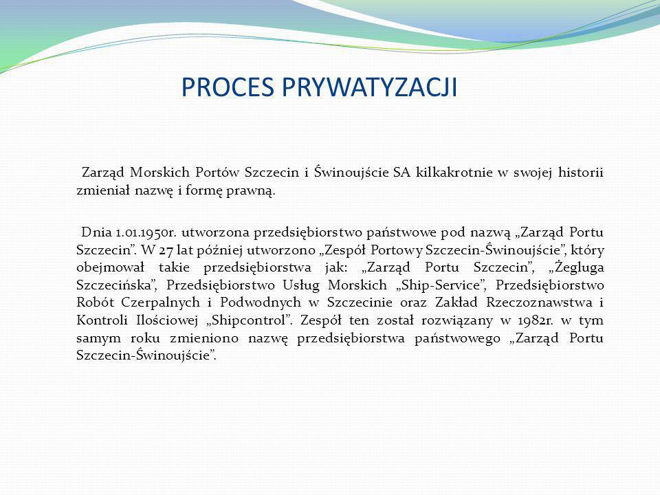 PROCES PRYWATYZACJI Zarząd Morskich Portów Szczecin i Świnoujście SA kilkakrotnie w swojej historii zmieniał nazwę i formę prawną. Dnia 1.01.1950r. ut