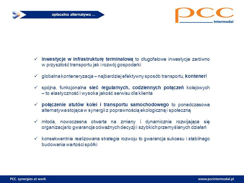 opłacalna alternatywa … inwestycje w infrastrukturę terminalową to długofalowe inwestycje zarówno w przyszłość transportu jak i rozwój gospodarki glob