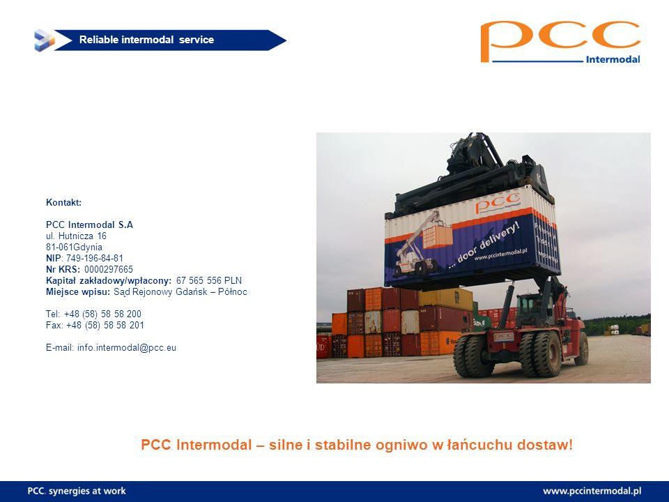 Reliable intermodal service Kontakt: PCC Intermodal S.A ul. Hutnicza 16 81-061Gdynia NIP: 749-196-84-81 Nr KRS: 0000297665 Kapitał zakładowy/wpłacony: