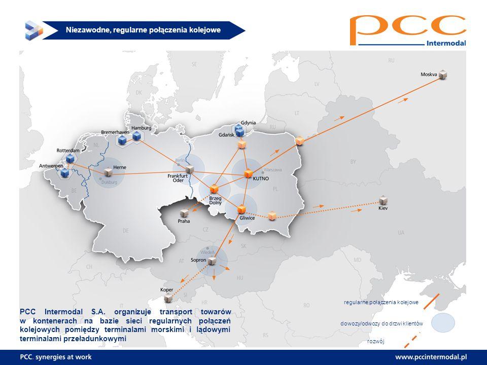Niezawodne, regularne połączenia kolejowe PCC Intermodal S.A. organizuje transport towarów w kontenerach na bazie sieci regularnych połączeń kolejowyc