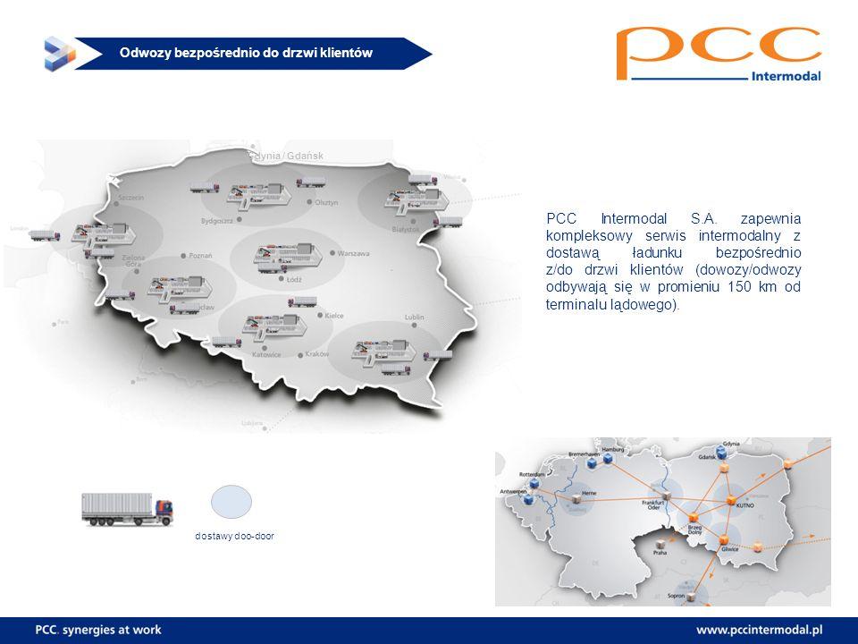 Odwozy bezpośrednio do drzwi klientów Gdynia / Gdańsk PCC Intermodal S.A. zapewnia kompleksowy serwis intermodalny z dostawą ładunku bezpośrednio z/do