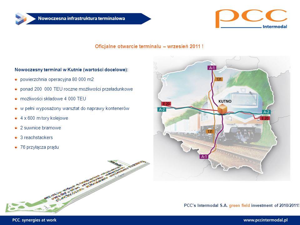 Nowoczesna infrastruktura terminalowa Oficjalne otwarcie terminalu – wrzesień 2011 ! Nowoczesny terminal w Kutnie (wartości docelowe): powierzchnia op