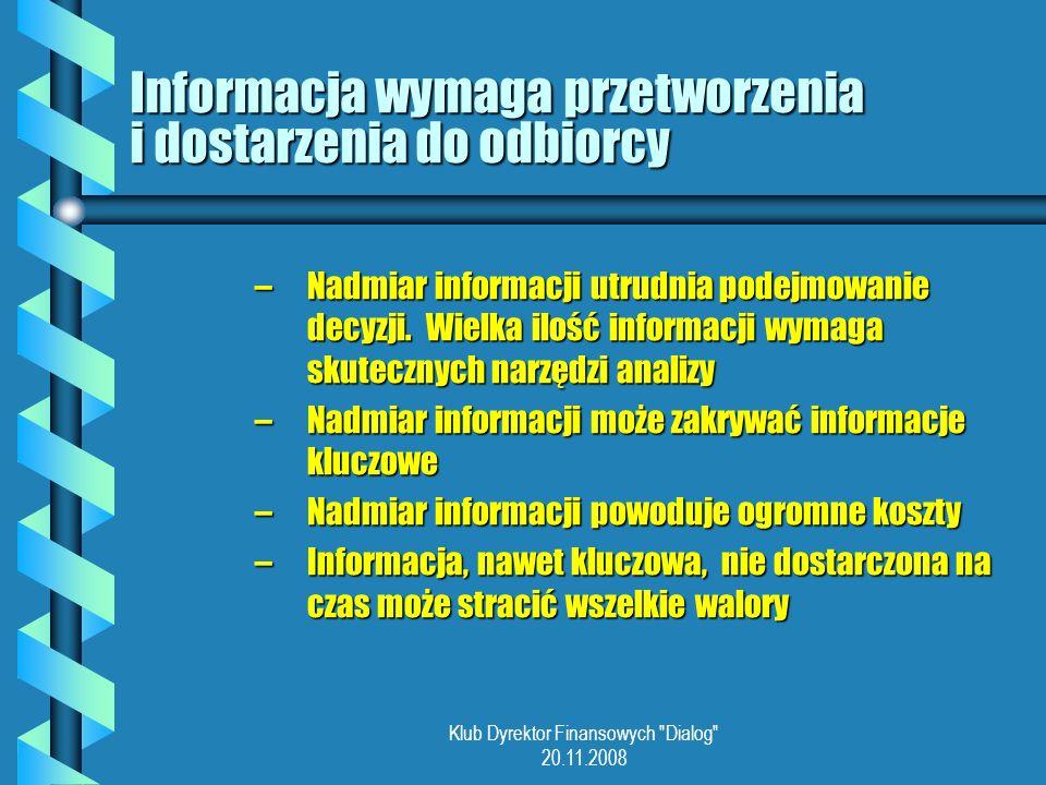 Klub Dyrektor Finansowych Dialog 20.11.2008 Informacja wymaga przetworzenia i dostarzenia do odbiorcy –Nadmiar informacji utrudnia podejmowanie decyzji.