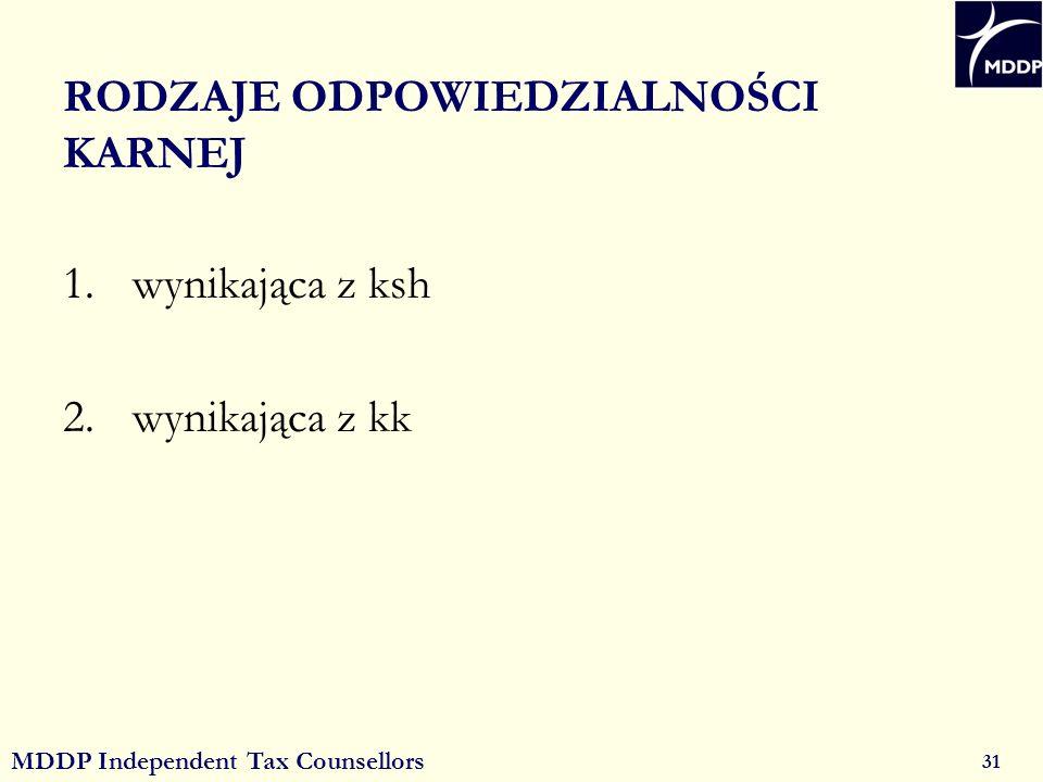 MDDP Independent Tax Counsellors 31 RODZAJE ODPOWIEDZIALNOŚCI KARNEJ 1.wynikająca z ksh 2.wynikająca z kk