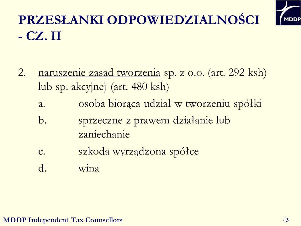 MDDP Independent Tax Counsellors 43 PRZESŁANKI ODPOWIEDZIALNOŚCI - CZ.