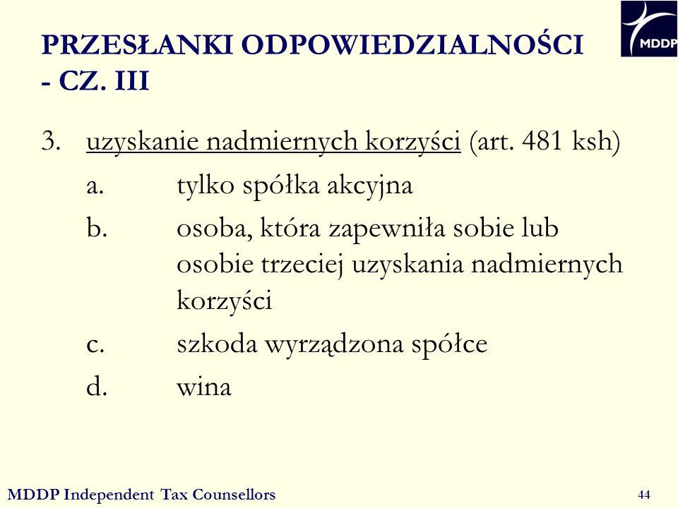 MDDP Independent Tax Counsellors 44 PRZESŁANKI ODPOWIEDZIALNOŚCI - CZ.