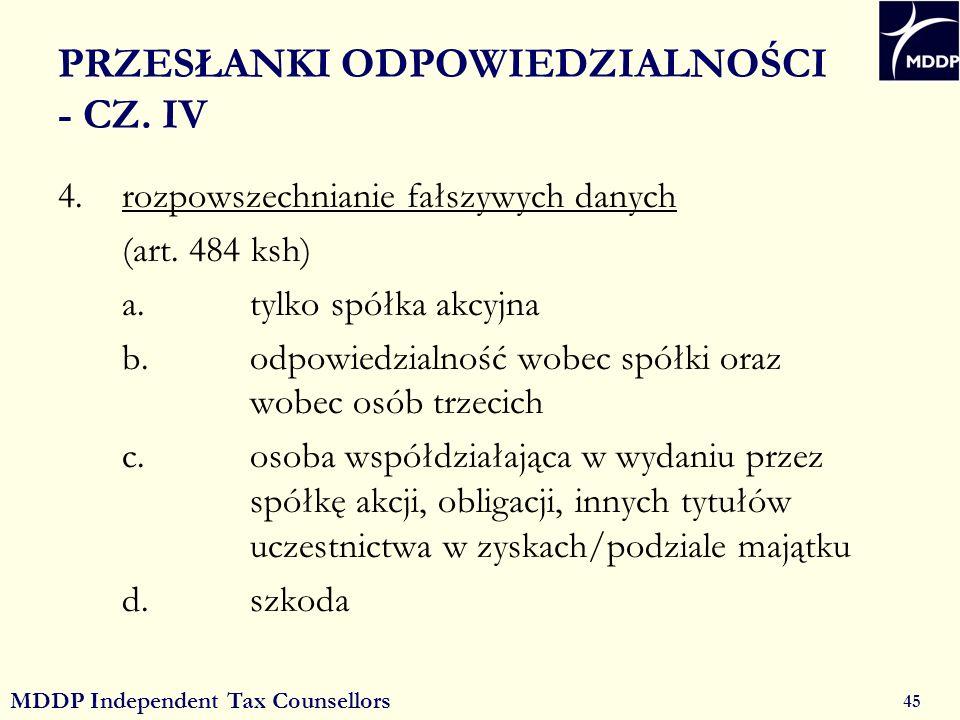 MDDP Independent Tax Counsellors 45 PRZESŁANKI ODPOWIEDZIALNOŚCI - CZ.