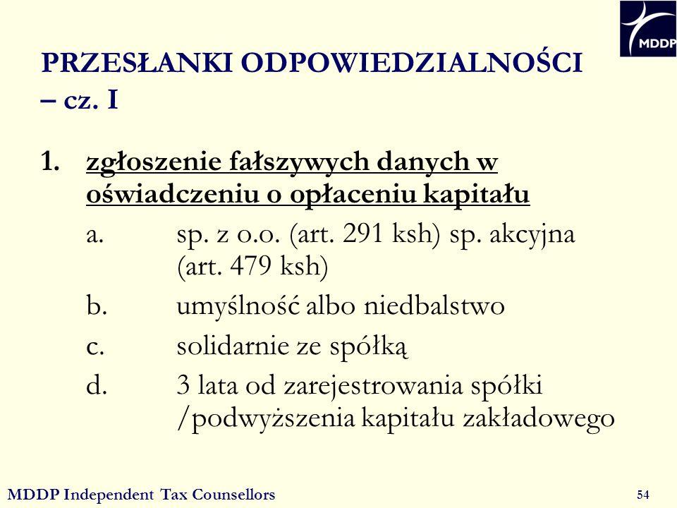 MDDP Independent Tax Counsellors 54 PRZESŁANKI ODPOWIEDZIALNOŚCI – cz.