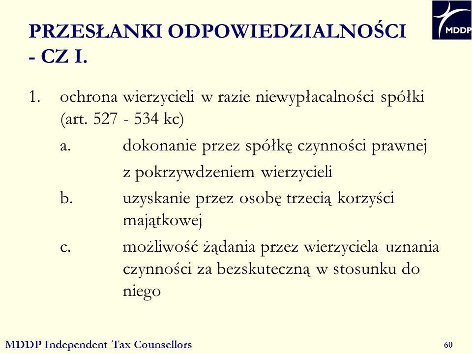 MDDP Independent Tax Counsellors 60 PRZESŁANKI ODPOWIEDZIALNOŚCI - CZ I.