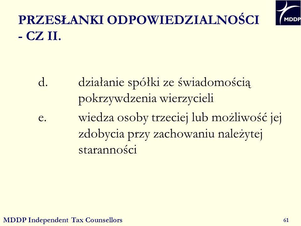 MDDP Independent Tax Counsellors 61 PRZESŁANKI ODPOWIEDZIALNOŚCI - CZ II.