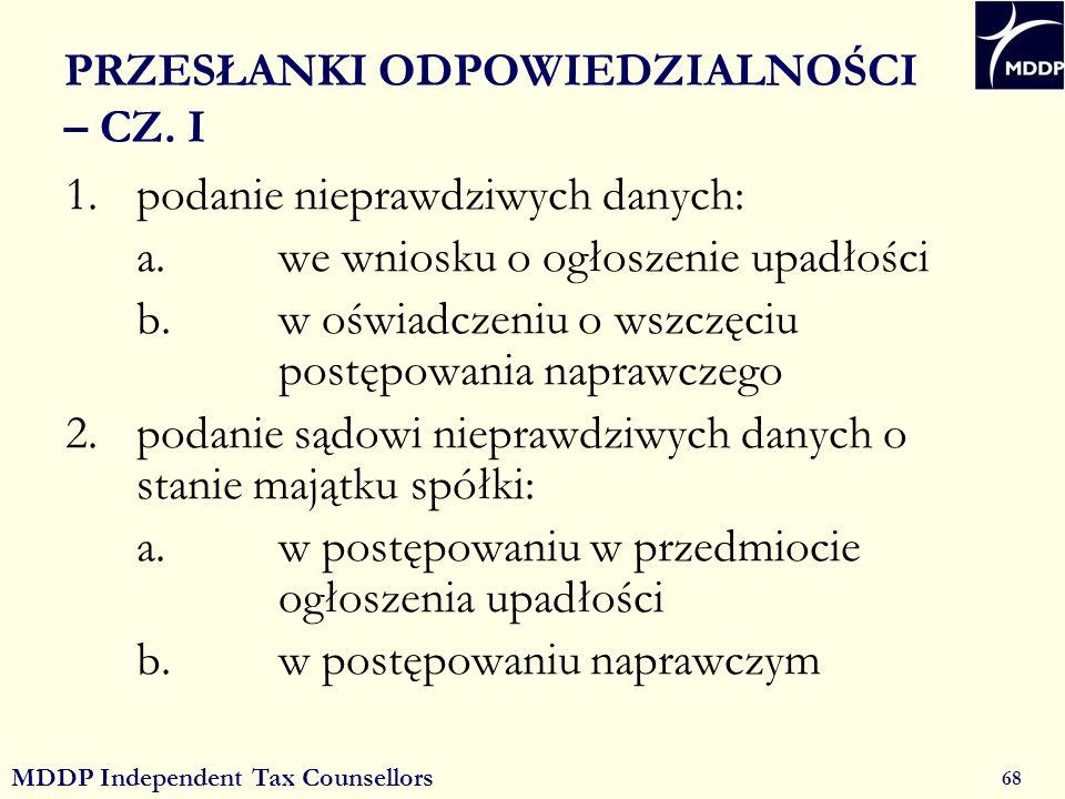 MDDP Independent Tax Counsellors 68 PRZESŁANKI ODPOWIEDZIALNOŚCI – CZ.