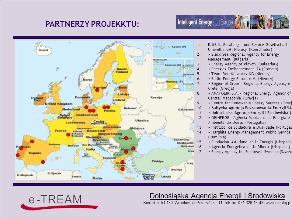 Dolnośląska Agencja Energii i Środowiska Siedziba: 51-180 Wrocław, ul Pełczyńska 11, tel/fax: 071 326 13 43, www.cieplej.pl ADRESACI: Adresatami projektu e – Tream są: - Agencje Poszanowania Energii partycypujące w projekcie, a docelowo wszystkie agencje poszanowania energii w skali krajowej i międzynarodowej, - przedstawiciele lokalnego sektora transportu, - lokalni i regionalni aktorzy rynku paliw alternatywnych, - lokalna społeczność (użytkownicy miejskiego transportu zbiorowego), - tzw.