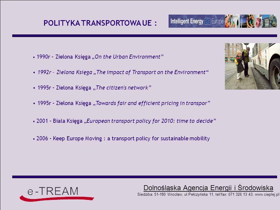 Dolnośląska Agencja Energii i Środowiska Siedziba: 51-180 Wrocław, ul Pełczyńska 11, tel/fax: 071 326 13 43, www.cieplej.pl POLITYKA ENERGETYCZNA POLSKI: Zużycie paliw w transporcie samochodowym z wyszczególnieniem biobaliw ROK Paliwa samochodowe [w 103 tonach ekwiwalentu benzyny] Biopaliwa [w 103 tonach bioetanolu] Udział procentowy biopaliw [%] 2000718440,60,35 2001704652,40,46 2002704965,30,57 2003754760,10,49 2004784738,30,3 2005--0,48 (1/2)* 2006--c.a.0,9-1,0 2006(Raport RP - plan)-1,5 2007(Raport RP – plan)-2,3 2010Plan.= zgodnez 2003/30/EC5,75