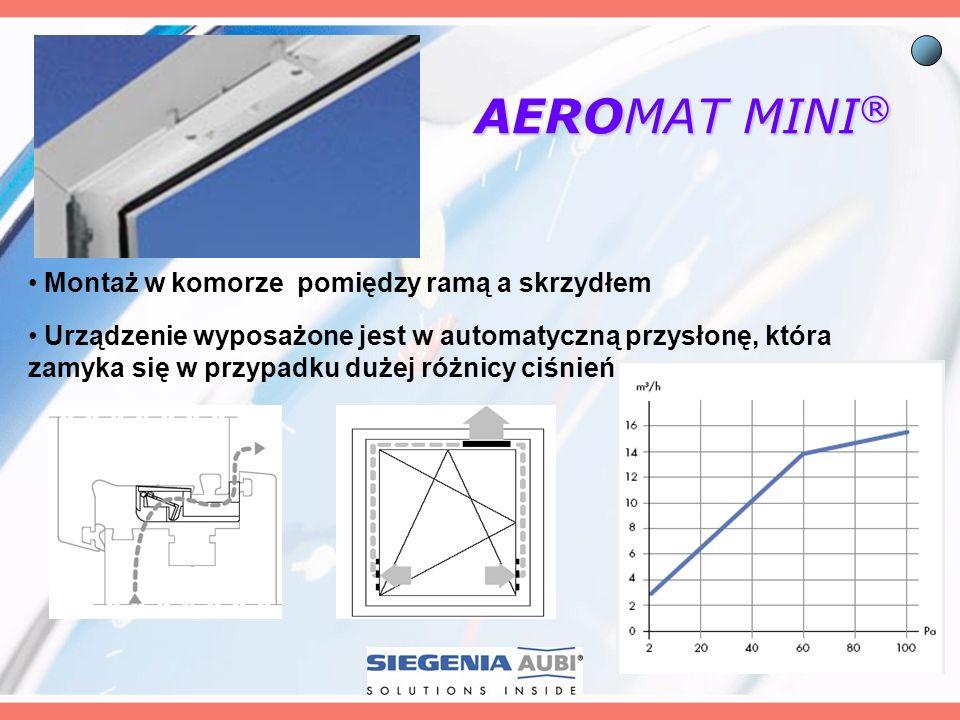 AEROMAT MINI ® Montaż w komorze pomiędzy ramą a skrzydłem Urządzenie wyposażone jest w automatyczną przysłonę, która zamyka się w przypadku dużej różn