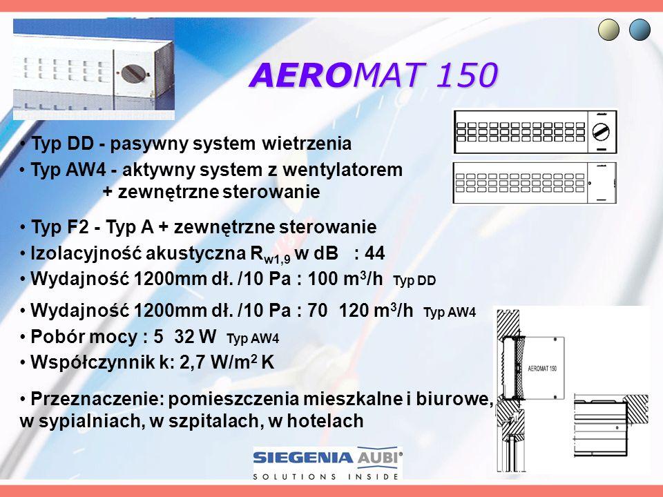AEROMAT 150 Przeznaczenie: pomieszczenia mieszkalne i biurowe, w sypialniach, w szpitalach, w hotelach Izolacyjność akustyczna R w1,9 w dB : 44 Wydajn