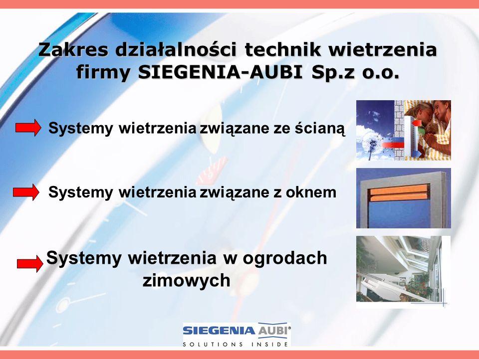 Zakres działalności technik wietrzenia firmy SIEGENIA-AUBI Sp.z o.o. Systemy wietrzenia związane z oknem Systemy wietrzenia związane ze ścianą Systemy
