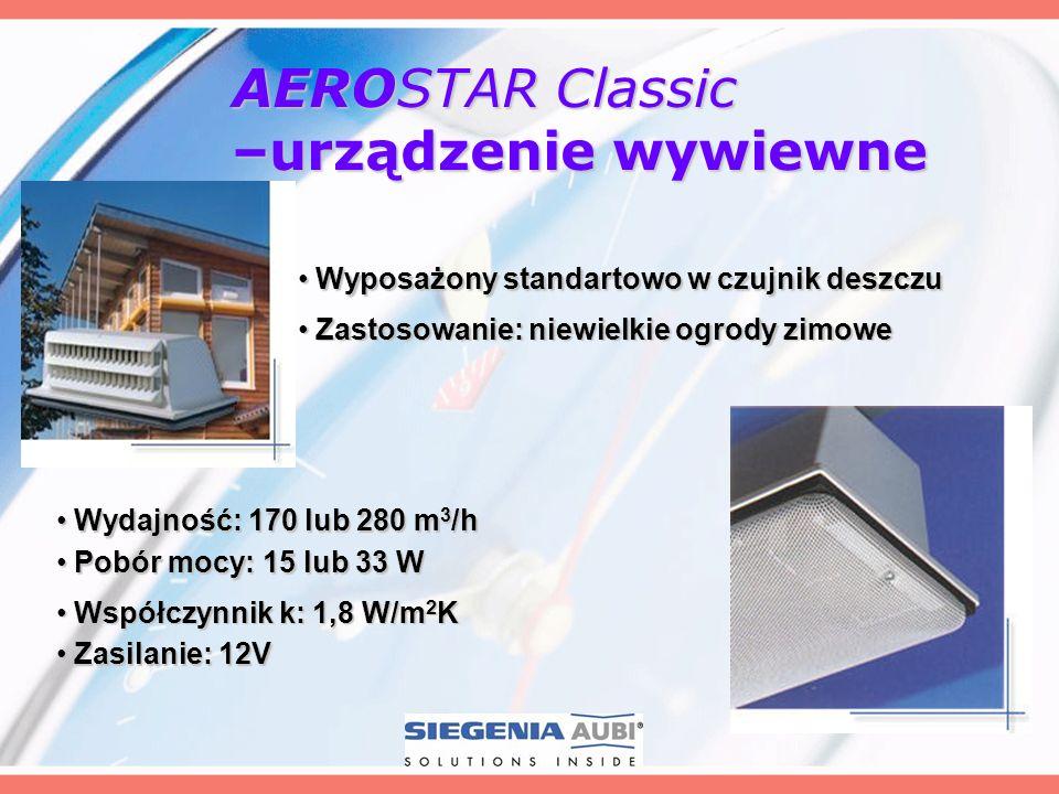 AEROSTAR Classic –urządzenie wywiewne Wydajność: 170 lub 280 m 3 /h Wydajność: 170 lub 280 m 3 /h Wyposażony standartowo w czujnik deszczu Wyposażony