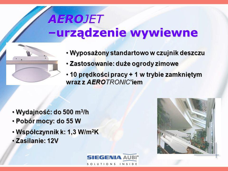 AEROJET –urządzenie wywiewne Wydajność: do 500 m 3 /h Wydajność: do 500 m 3 /h Wyposażony standartowo w czujnik deszczu Wyposażony standartowo w czujn
