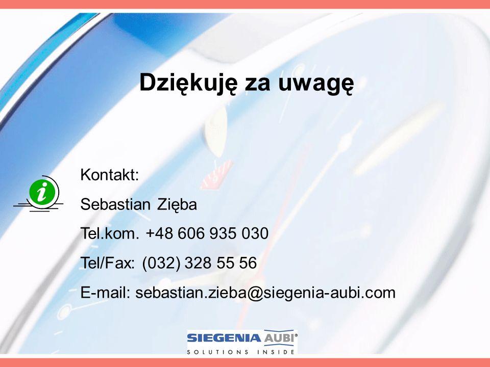 Dziękuję za uwagę Kontakt: Sebastian Zięba Tel.kom. +48 606 935 030 Tel/Fax: (032) 328 55 56 E-mail: sebastian.zieba@siegenia-aubi.com