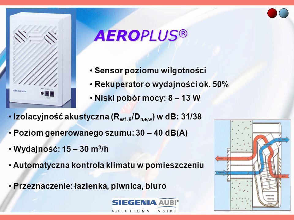 AEROPLUS ® Rekuperator o wydajności ok. 50% Niski pobór mocy: 8 – 13 W Izolacyjność akustyczna (R w1,9 /D n,e,w ) w dB: 31/38 Poziom generowanego szum