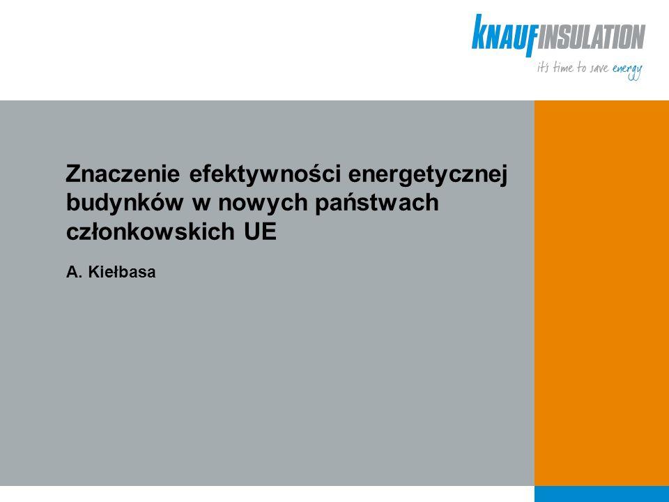 Znaczenie efektywności energetycznej budynków w nowych państwach członkowskich UE A. Kiełbasa