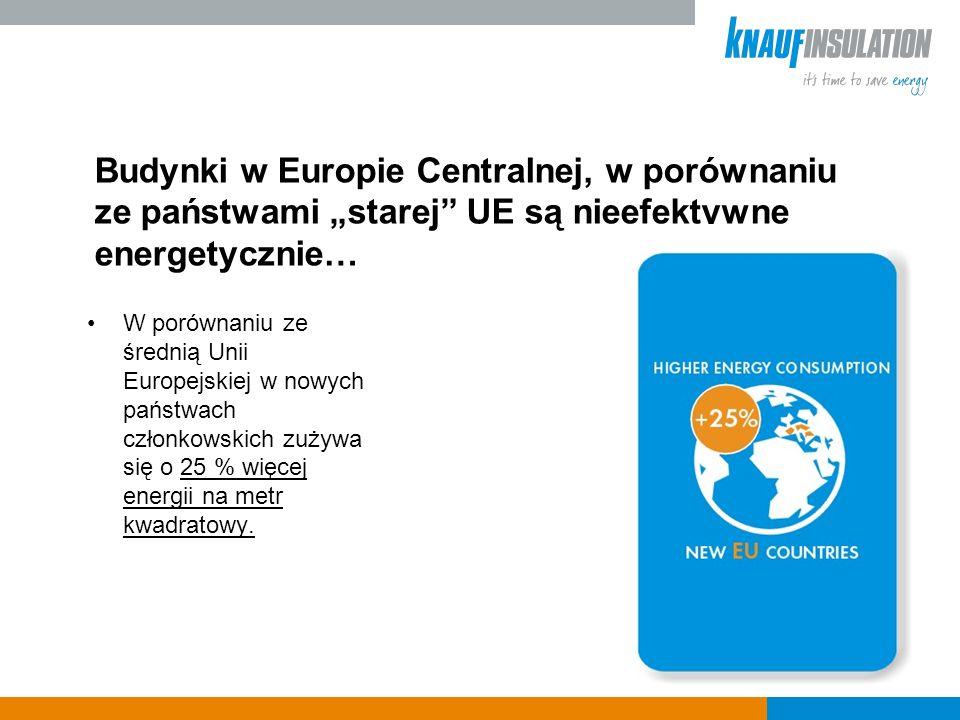 Budynki w Europie Centralnej, w porównaniu ze państwami starej UE są nieefektywne energetycznie… W porównaniu ze średnią Unii Europejskiej w nowych państwach członkowskich zużywa się o 25 % więcej energii na metr kwadratowy.