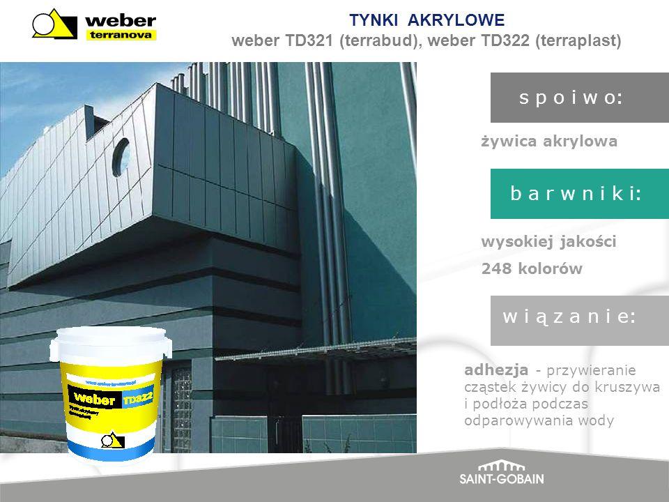 TYNKI AKRYLOWE weber TD321 (terrabud), weber TD322 (terraplast) żywica akrylowa wysokiej jakości 248 kolorów adhezja - przywieranie cząstek żywicy do