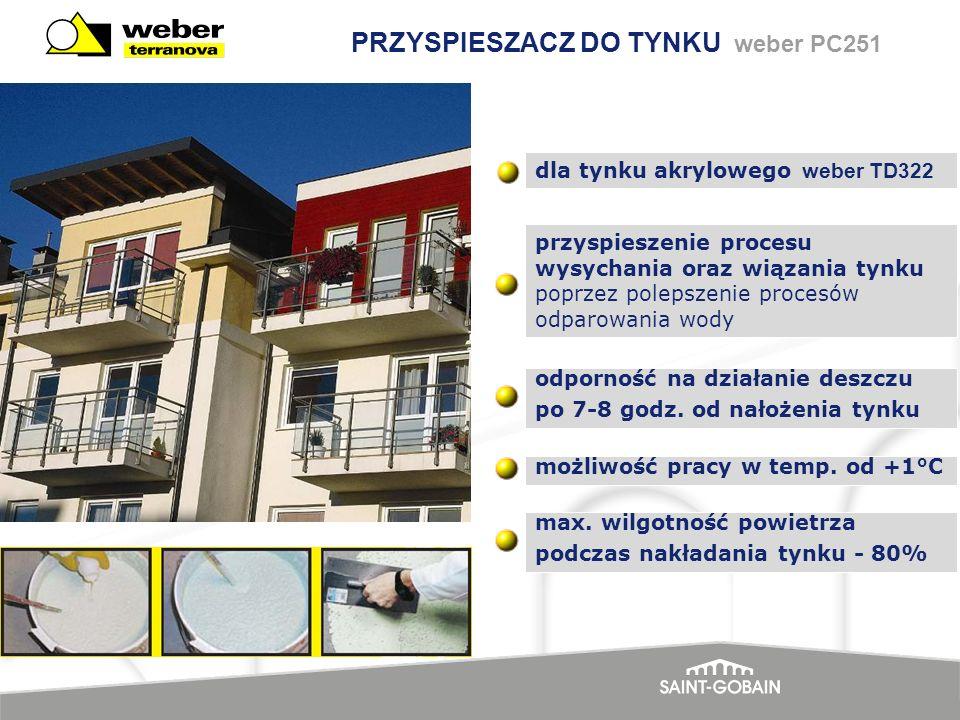PRZYSPIESZACZ DO TYNKU weber PC251 przyspieszenie procesu wysychania oraz wiązania tynku poprzez polepszenie procesów odparowania wody możliwość pracy