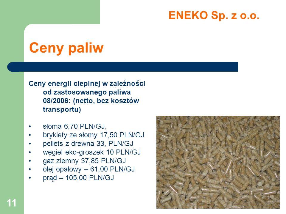 11 Ceny paliw ENEKO Sp. z o.o. Ceny energii cieplnej w zależności od zastosowanego paliwa 08/2006: (netto, bez kosztów transportu) słoma 6,70 PLN/GJ,