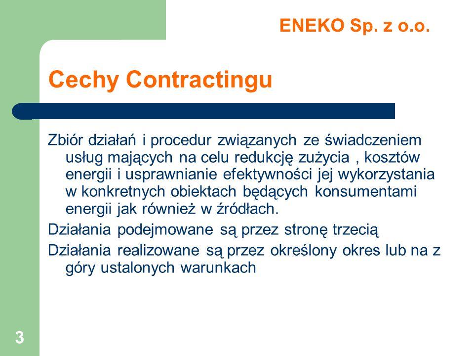 3 Cechy Contractingu Zbiór działań i procedur związanych ze świadczeniem usług mających na celu redukcję zużycia, kosztów energii i usprawnianie efekt