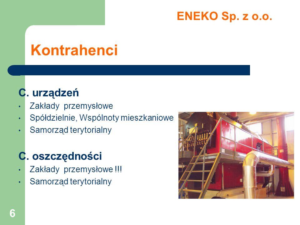 6 Kontrahenci C. urządzeń Zakłady przemysłowe Spółdzielnie, Wspólnoty mieszkaniowe Samorząd terytorialny C. oszczędności Zakłady przemysłowe !!! Samor