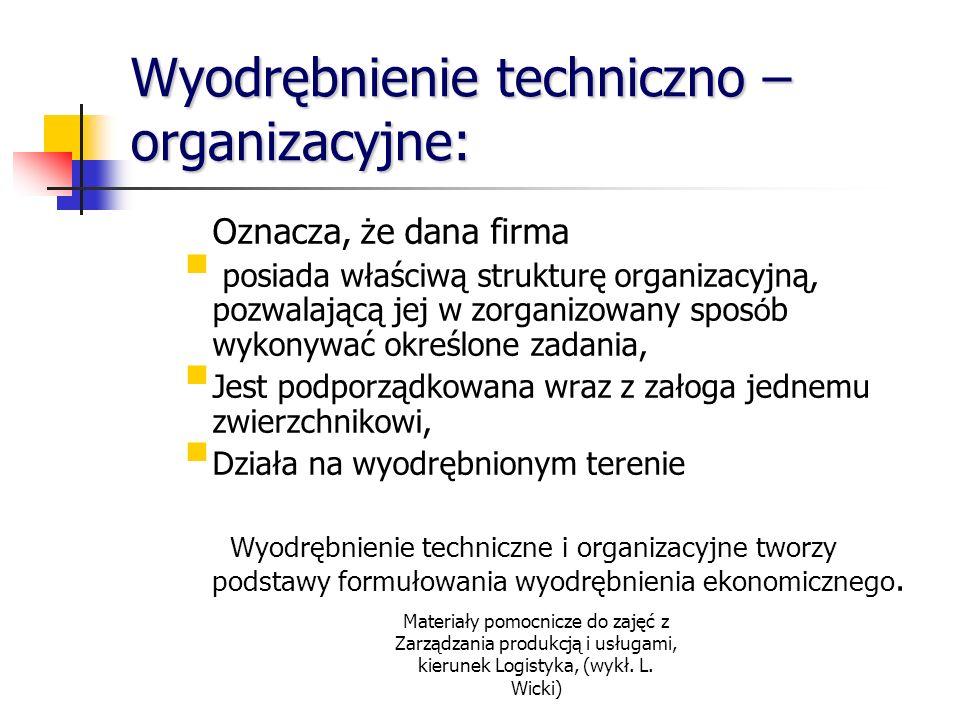 Materiały pomocnicze do zajęć z Zarządzania produkcją i usługami, kierunek Logistyka, (wykł. L. Wicki) Wyodrębnienie techniczno – organizacyjne: Oznac