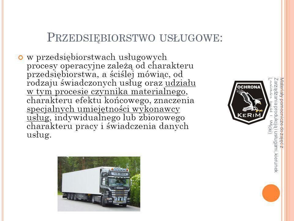 Materiały pomocnicze do zajęć z Zarządzania produkcją i usługami, kierunek Logistyka, (wykł. L. Wicki) P RZEDSIĘBIORSTWO USŁUGOWE : w przedsiębiorstwa