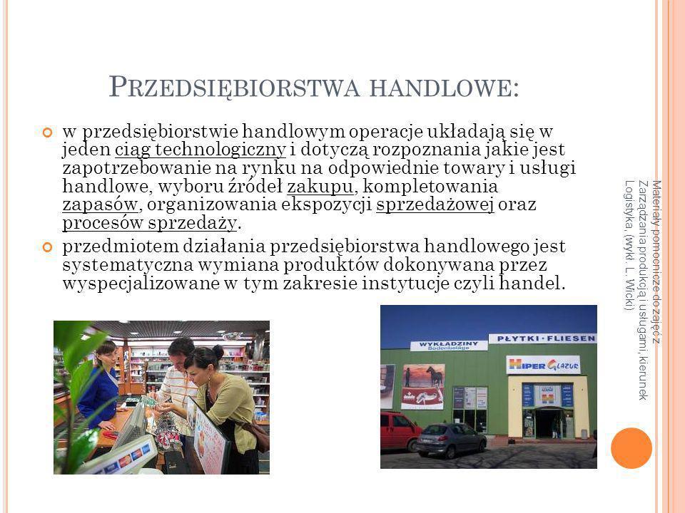 Materiały pomocnicze do zajęć z Zarządzania produkcją i usługami, kierunek Logistyka, (wykł. L. Wicki) P RZEDSIĘBIORSTWA HANDLOWE : w przedsiębiorstwi