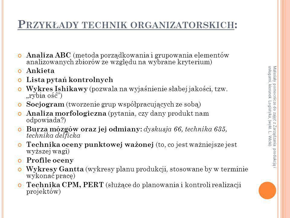 Materiały pomocnicze do zajęć z Zarządzania produkcją i usługami, kierunek Logistyka, (wykł. L. Wicki) P RZYKŁADY TECHNIK ORGANIZATORSKICH : Analiza A