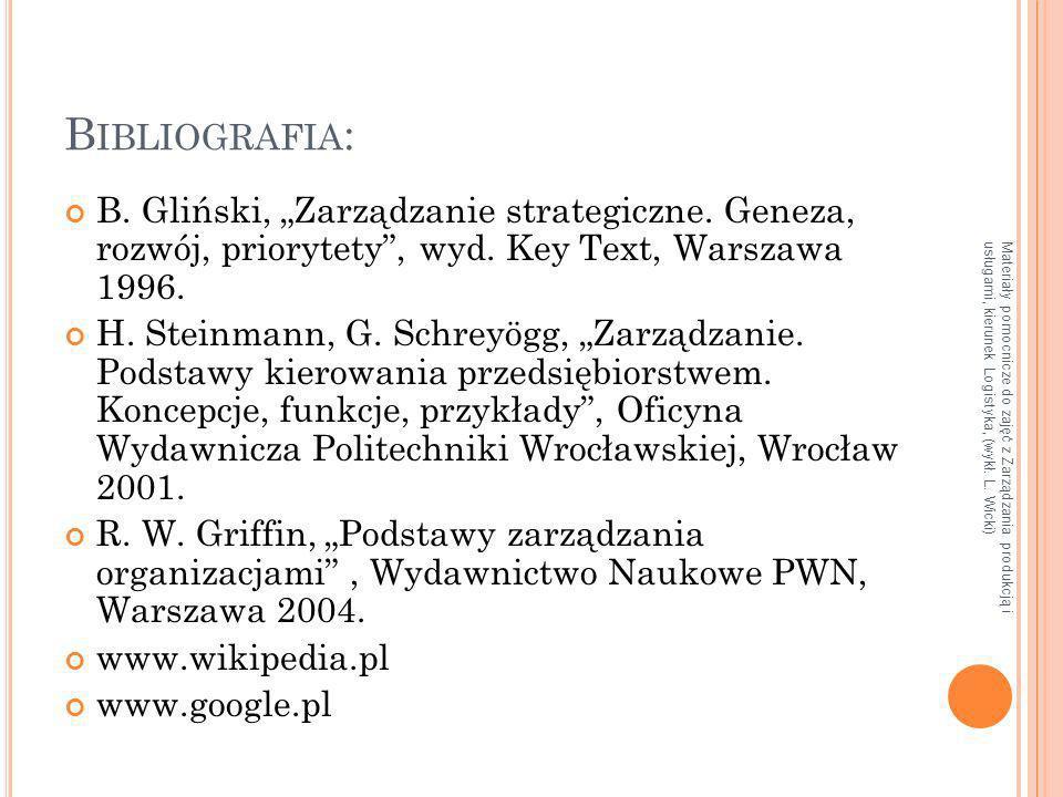Materiały pomocnicze do zajęć z Zarządzania produkcją i usługami, kierunek Logistyka, (wykł. L. Wicki) B IBLIOGRAFIA : B. Gliński, Zarządzanie strateg