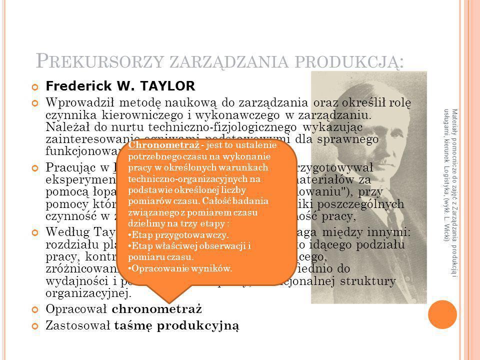 Materiały pomocnicze do zajęć z Zarządzania produkcją i usługami, kierunek Logistyka, (wykł. L. Wicki) P REKURSORZY ZARZĄDZANIA PRODUKCJĄ : Frederick