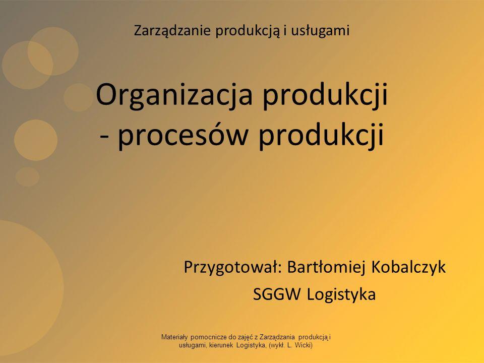 Materiały pomocnicze do zajęć z Zarządzania produkcją i usługami, kierunek Logistyka, (wykł. L. Wicki) Organizacja produkcji - procesów produkcji Przy