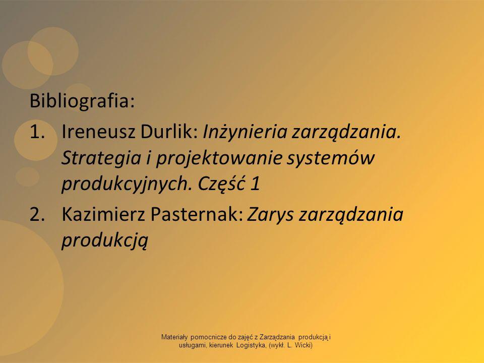 Materiały pomocnicze do zajęć z Zarządzania produkcją i usługami, kierunek Logistyka, (wykł. L. Wicki) Bibliografia: 1.Ireneusz Durlik: Inżynieria zar