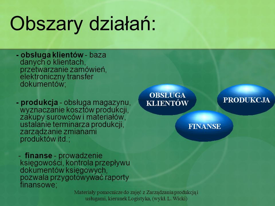 Materiały pomocnicze do zajęć z Zarządzania produkcją i usługami, kierunek Logistyka, (wykł. L. Wicki) Obszary działań: - obsługa klientów - baza dany