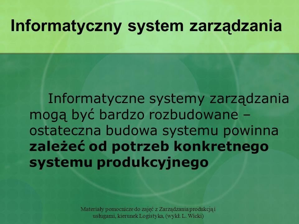 Materiały pomocnicze do zajęć z Zarządzania produkcją i usługami, kierunek Logistyka, (wykł. L. Wicki) Informatyczny system zarządzania Informatyczne