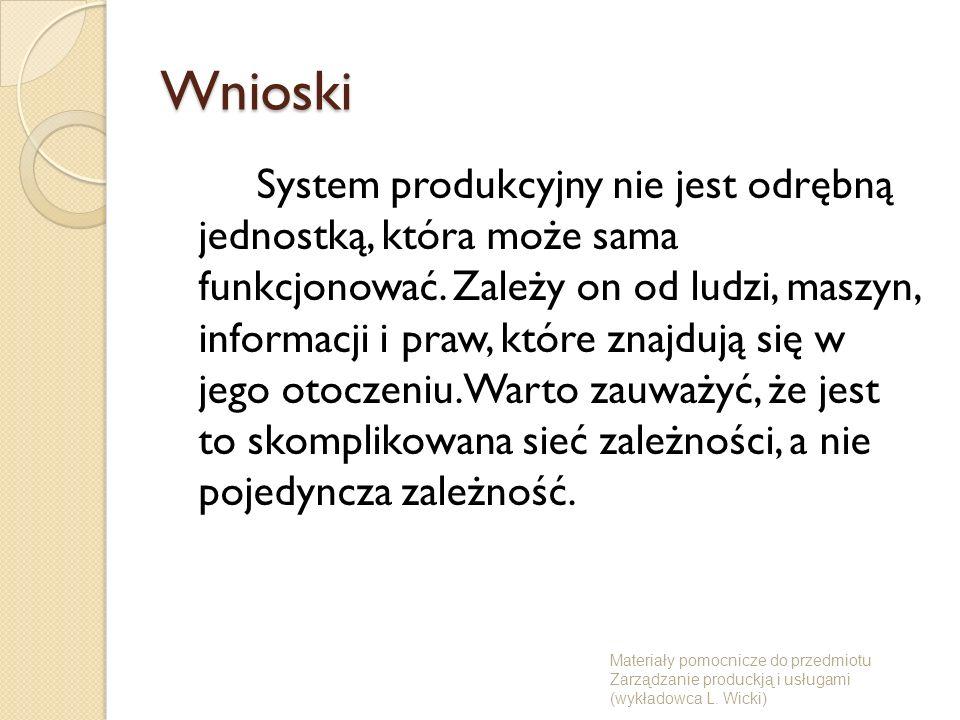 Materiały pomocnicze do przedmiotu Zarządzanie produckją i usługami (wykładowca L.